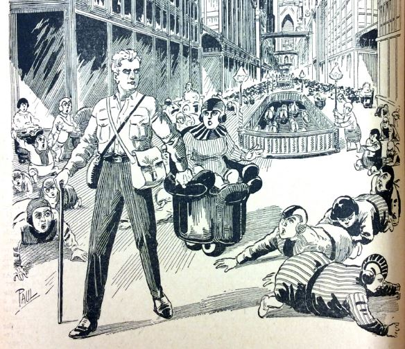 A white, ablebodied man stands over the bodies of crawling people in the midst of a cityscape.
